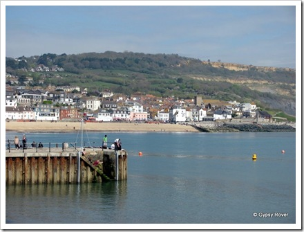 Lyme Regis from the harbour sea wall.