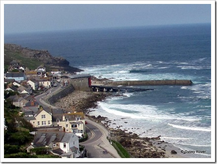 Sennen village below us on the open top bus.