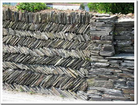 Cornish slate walls built with just earth.