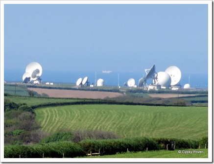Satellite receiving station near Bude in Devon.