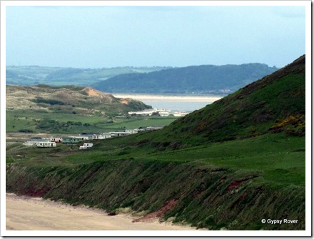 Caravan Campsites adorn the Rhossili Bay area. Broughton Bay in the background.