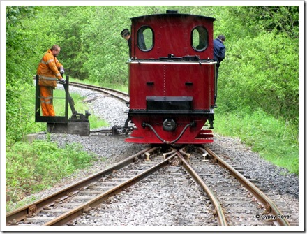 Brecon Mountain Railway. The end of the line and the loco run's around the train for the return trip.