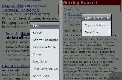 The context menus are intuitive and the option of opening a link in a new tab is something that I missed in Iris