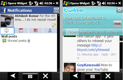 Just as examples, the Facebook and Twitter widgets. They werent as fast as I hoped that they would be. In fact the mobile sites of both these services work a lot faster directly in the browser