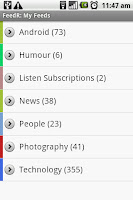 The main FeedR screen. This is synced with your Google Reader account and will reflect the feeds and folders that you may have there. All the folders/feed bundles are colour coded for convenience and the unread count is displayed next to the titles