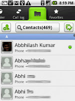 The contacts screen has a large button on top to search bordered by the multi-select and add new buttons