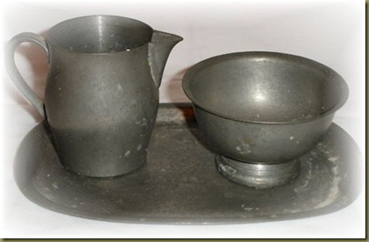 Pewter creamer and sugar