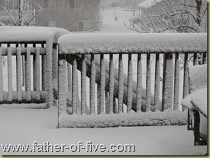 deck railing - note the depth of the snow