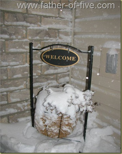 Welcome sign in snowstorm