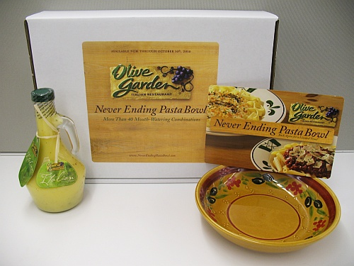 Win a Never Ending Pasta Bowl prize pack from Olive Garden