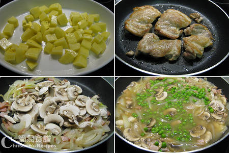 焗雞腿配白酒蘑菇汁製作圖 Roast Chicken with Bacon & Peas Procedures