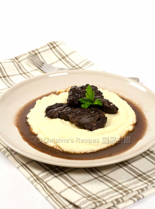 Braised Beef Cheek in Pedro Ximenez on Cauliflower Puree