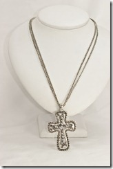 Lg Antique Silver Cross on Silver Necklace