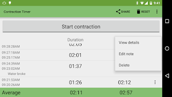 Screenshot of Contraction Timer