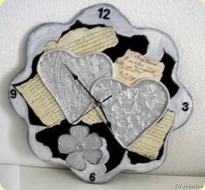 pendule murale coeur argent