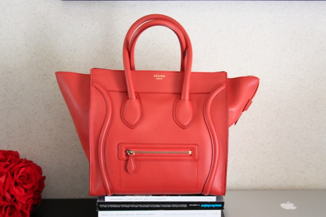 celine luggage red coral