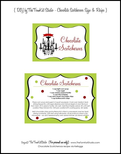 chocolate scotcheroo recipe label - tomkat studio