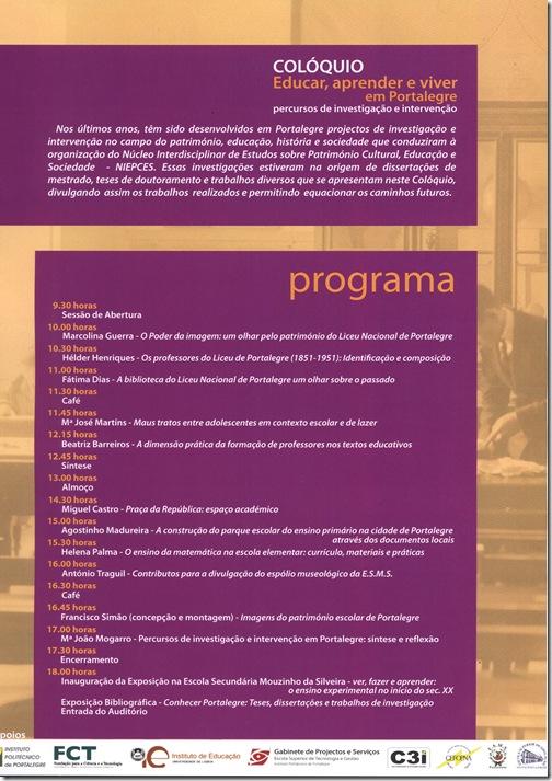 Programa coloquio ESE Portalegre - 26 Nov 2010