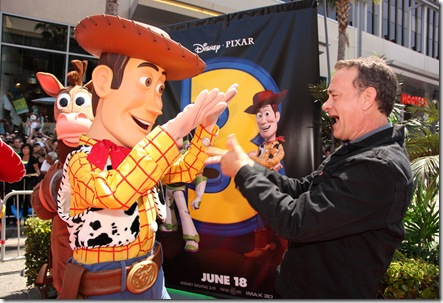 "HOLLYWOOD, CA - JUNE 13: Woody and Tom Hanks at the World Premiere of Disney/Pixar's ""Toy Story 3"" on June 13, 2010 at the El Capitan Theatre in Hollywood, California. (Photo by Eric Charbonneau/Le Studio/Wireimage)"