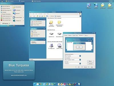 BlueTurquesa,windows style xp theme download,xp佈景主題vista,visual styles,xp佈景主題教學下載,桌面改造,桌面美化,破解xp佈景主題限制