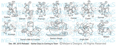 Meljens Designs December 9th Santa Claus is Coming to Town set display