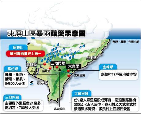 東屏山區暴雨釀災示意圖