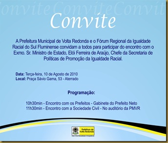 Convite FRPIR Ministro