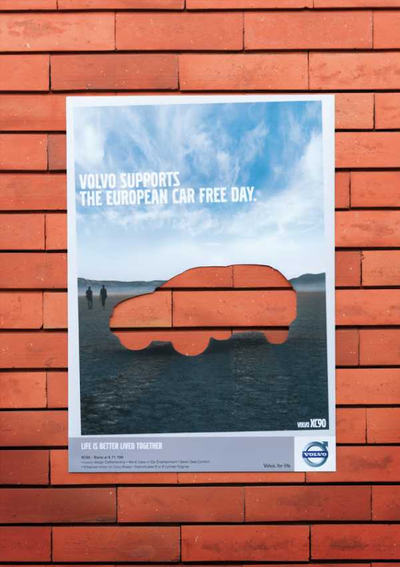 Volvo have made advertising with the cut out car