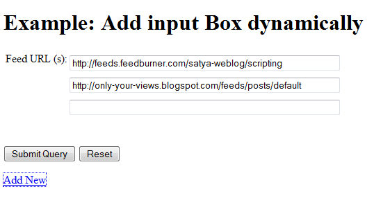 Add Input Element Dynamically using JavaScript