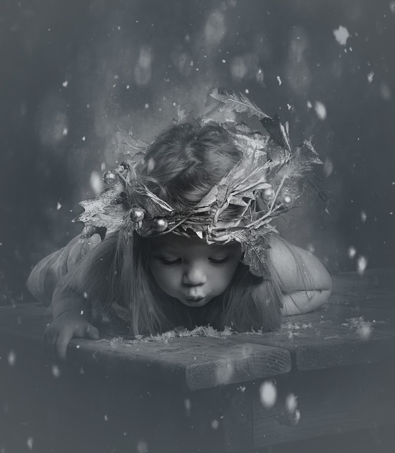 snow fairy by ILOVE Photography - Black & White Portraits & People ( black and white, b&w, child, portrait )
