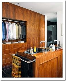 vestidor minimalista con lavabo doble seno