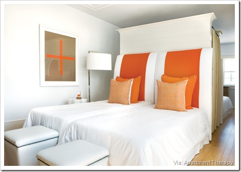 bedroom orange headboards