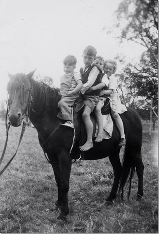 Kids on horse