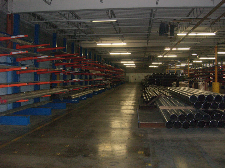 Cantilever Racks for indoor pipe storage.