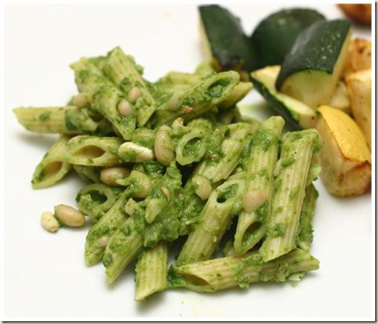 Proceed with Caution: Lemony Almond Spinach Pesto Pasta