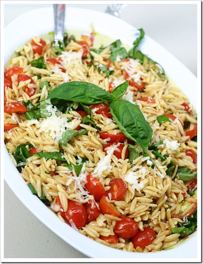 Proceed with Caution: Tomato Basil Orzo Salad