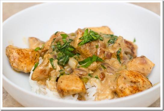 Basil Chicken in a Coconut-Curry Sauce