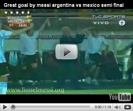 Great Goal by Messi Argentina vs Mexico semifinal Copa América 2007 ...