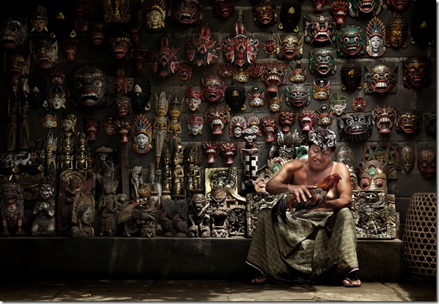 The Balinese Masks Maker and His Rooster