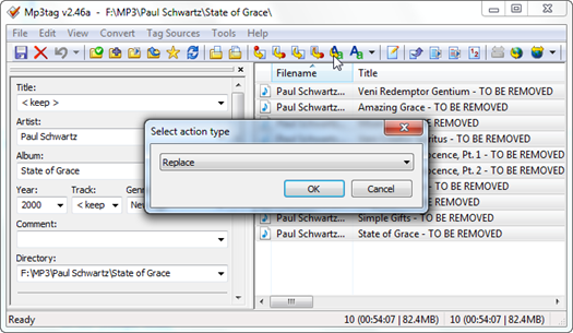 Figure 3 – Mp3tag action type selection