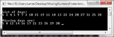 Missing Numbers Finder output