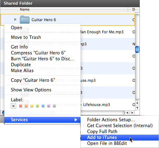 Add to iTunes context menu option in Finder when right clicking a folder