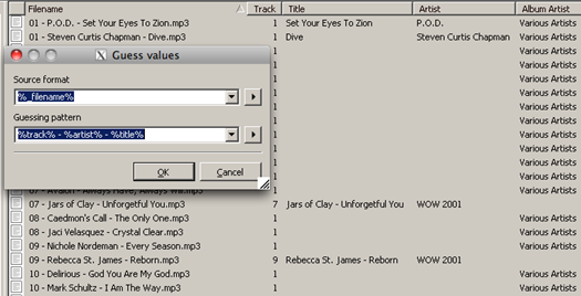 Mp3tag Guess Values for Track Artist and Title in FileName [ before ]