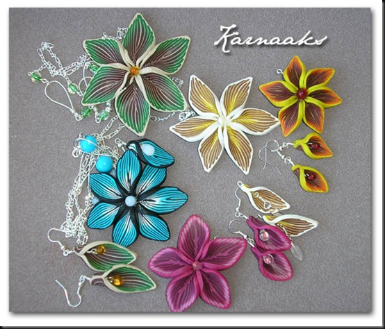 fimo flower pendants