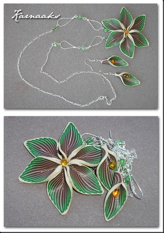 fimo flower pendant