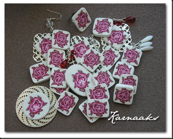 fimo rose beads