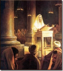Jesus reads the scroll in the Synagogue: