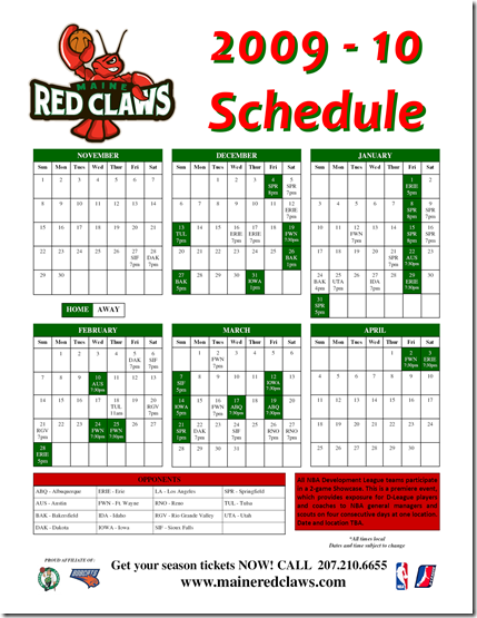 2009 - 10 Claws Schedule