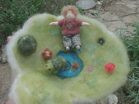 Needle Felted Turtle, Teeny Boy and Playscape w/ Pond
