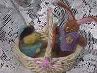 Dolly Easter Basket with Teeny Bunny, Needle Felted Egg and Chick - Turquoise/Purple